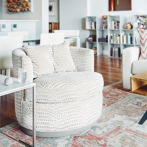 Cozy, contemporary style   The Bernadette Swivel from @vanguardfurniture