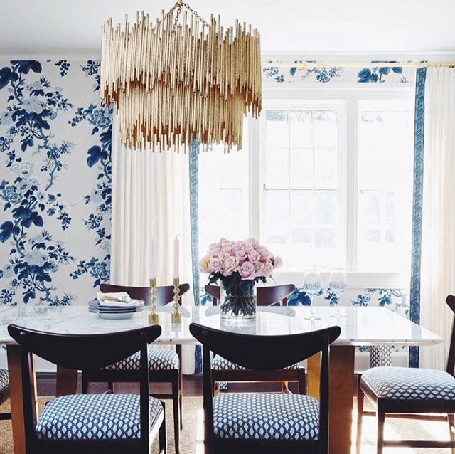 "Gorgeous transformation by @kandkinteriordesign ✨✨ From floor to ceiling, this radiant dining room featuring an Arteriors ""Prescott Pendant"" blossoming with #designinspiration"