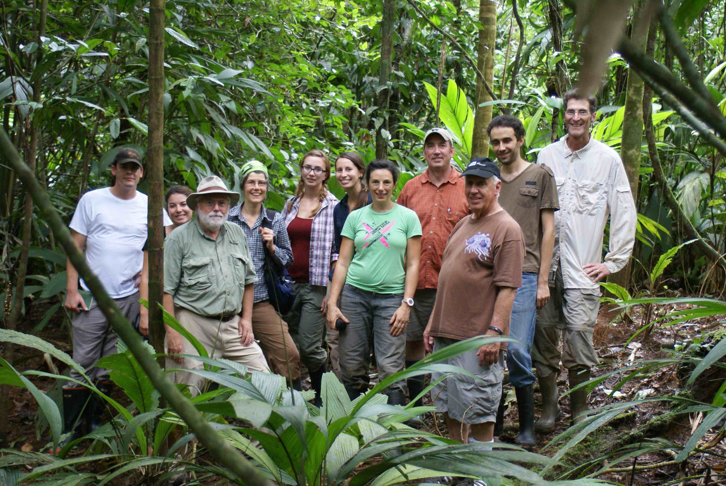 Research group next to a  Atta cephalotes  nest at La Selva Biological Research Station, Costa Rica