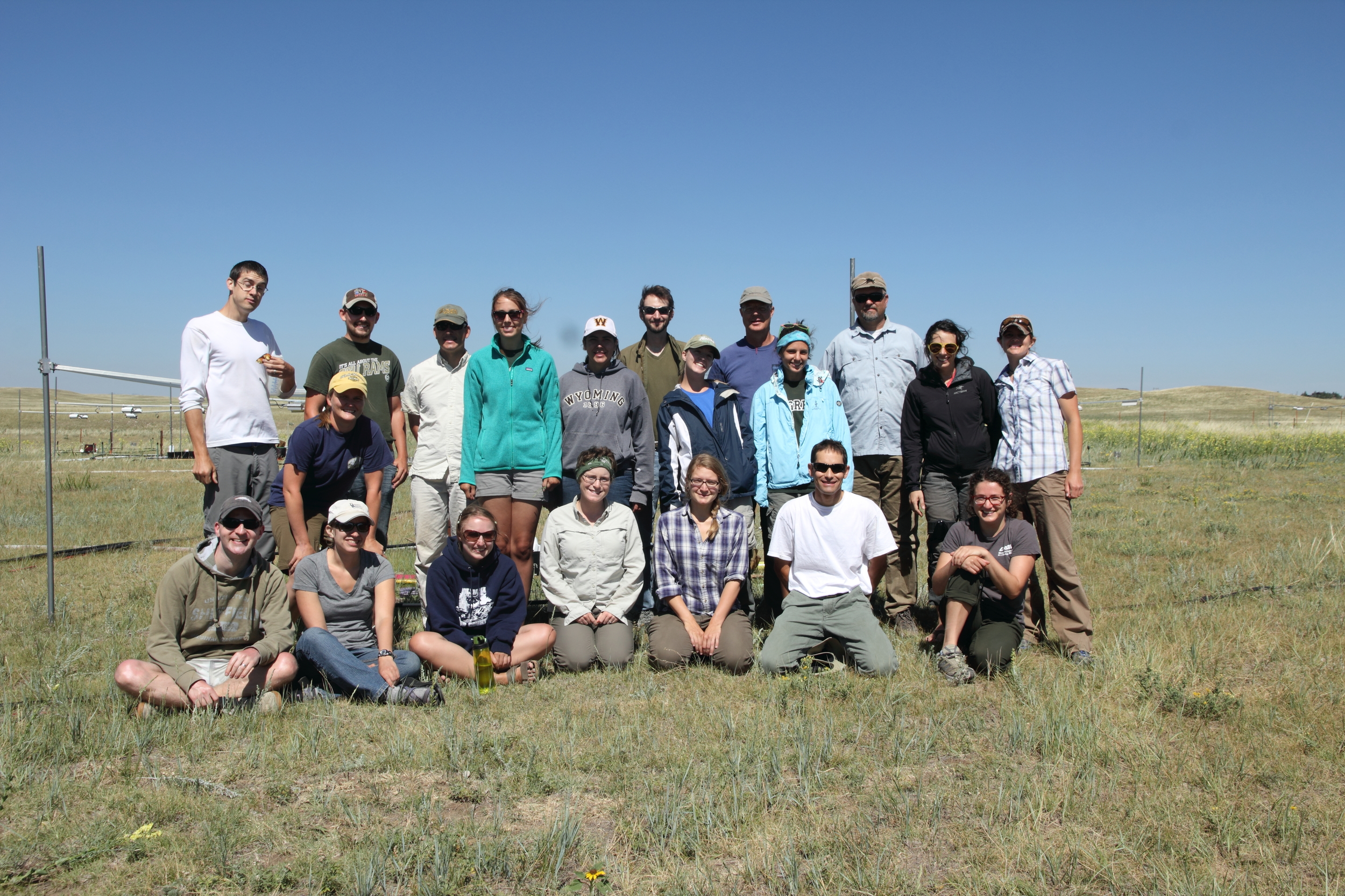 The research group at the PHACE site during the final plant biomass harvest, July 2013