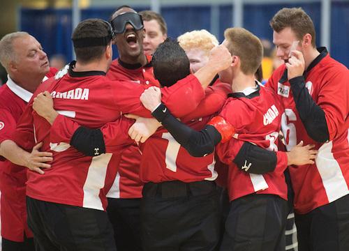 Canadian Men's Goal Ball team celebrating at 2015 Para Pan Ams