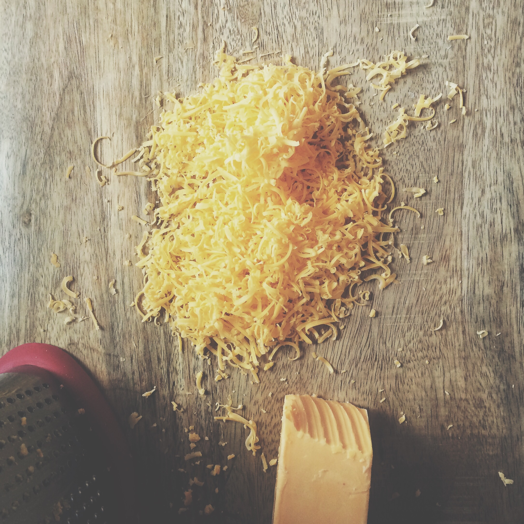 While the pretzels cooked for the first eight minutes, I grated the cheddar.