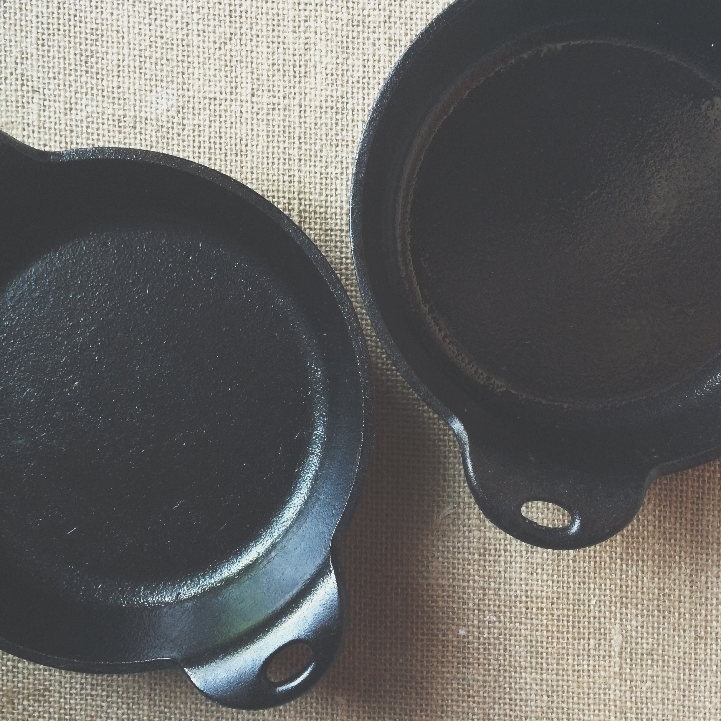James has taught me the beauty of cooking with cast iron. We collect Lodge pieces, all made in the United States and boasting of a rich cultural history. For these mini pies, I  used these small round servers.