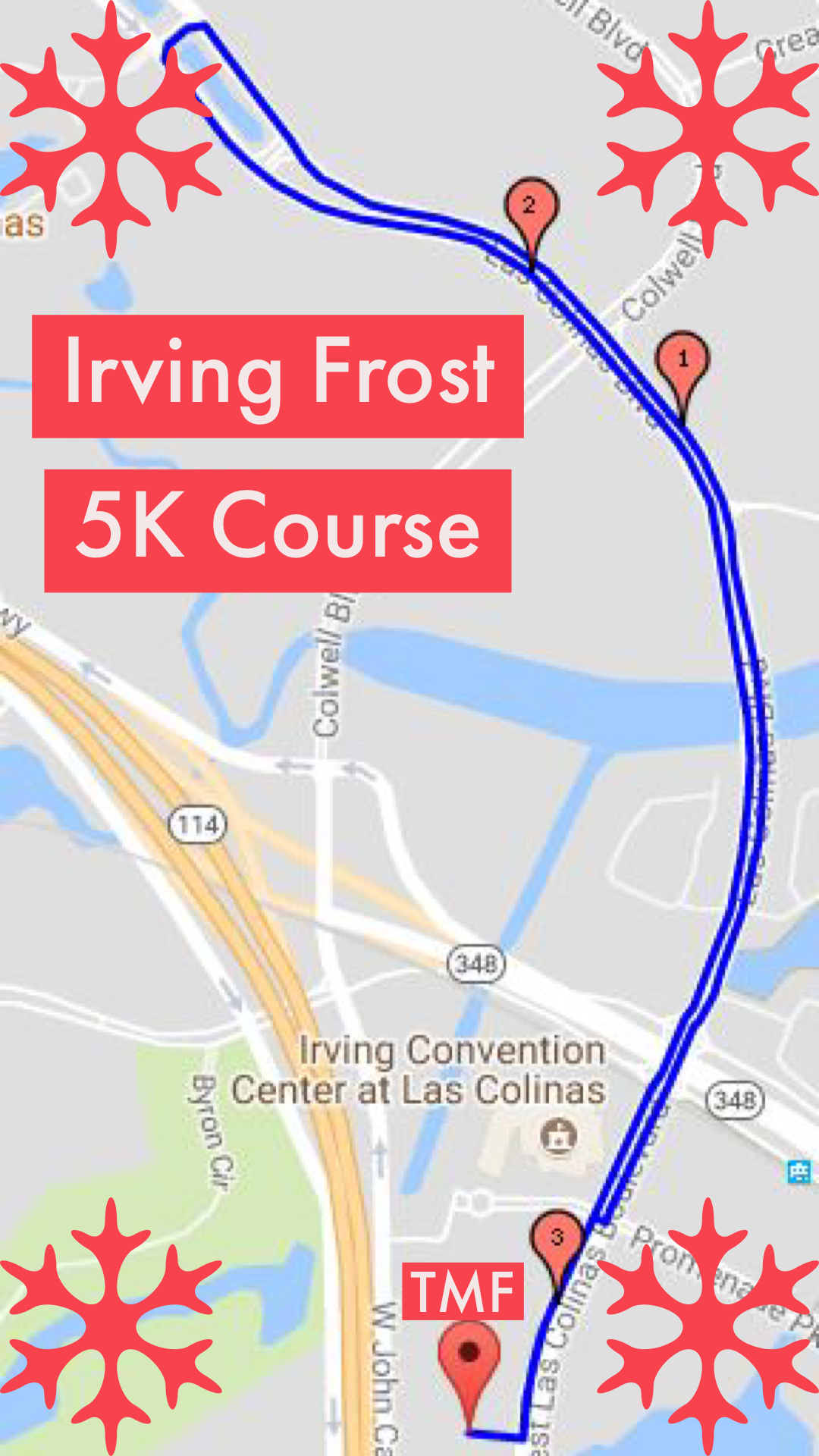 USATF Certified Irving Frost 5K Course - The Flat course takes you out of Toyota Music Factory through the Convention Center along scenic Las Colinas Boulevard then back to Toyota Music Factory where a fun post race party at America's #1 concert venue awaits.