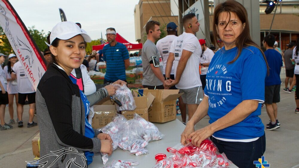 Come hang out with us for 3-4 hours on the 7th. - Volunteer opportunities are available. The following volunteer opportunities are available: Aid Station, Race Recovery, Packet Pick Up, Event Set Up, and Celebration Crew. Email Jaclyn Livingston, our event coordinator if you or your group wants to be a volunteer at jaclyn@irvingmarathon.com