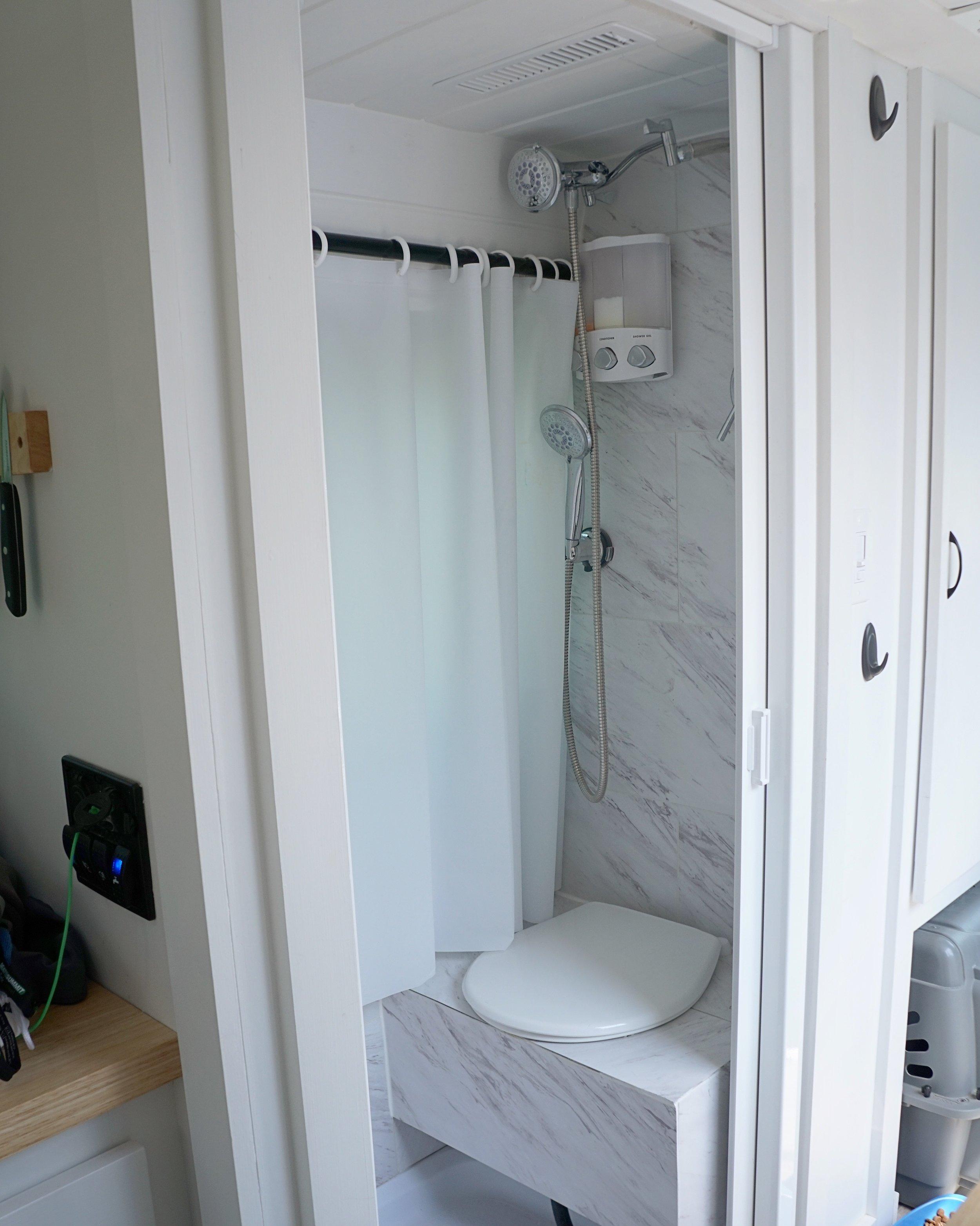 40 hours of freedom sprinter van conversion bathroom shower door toilet