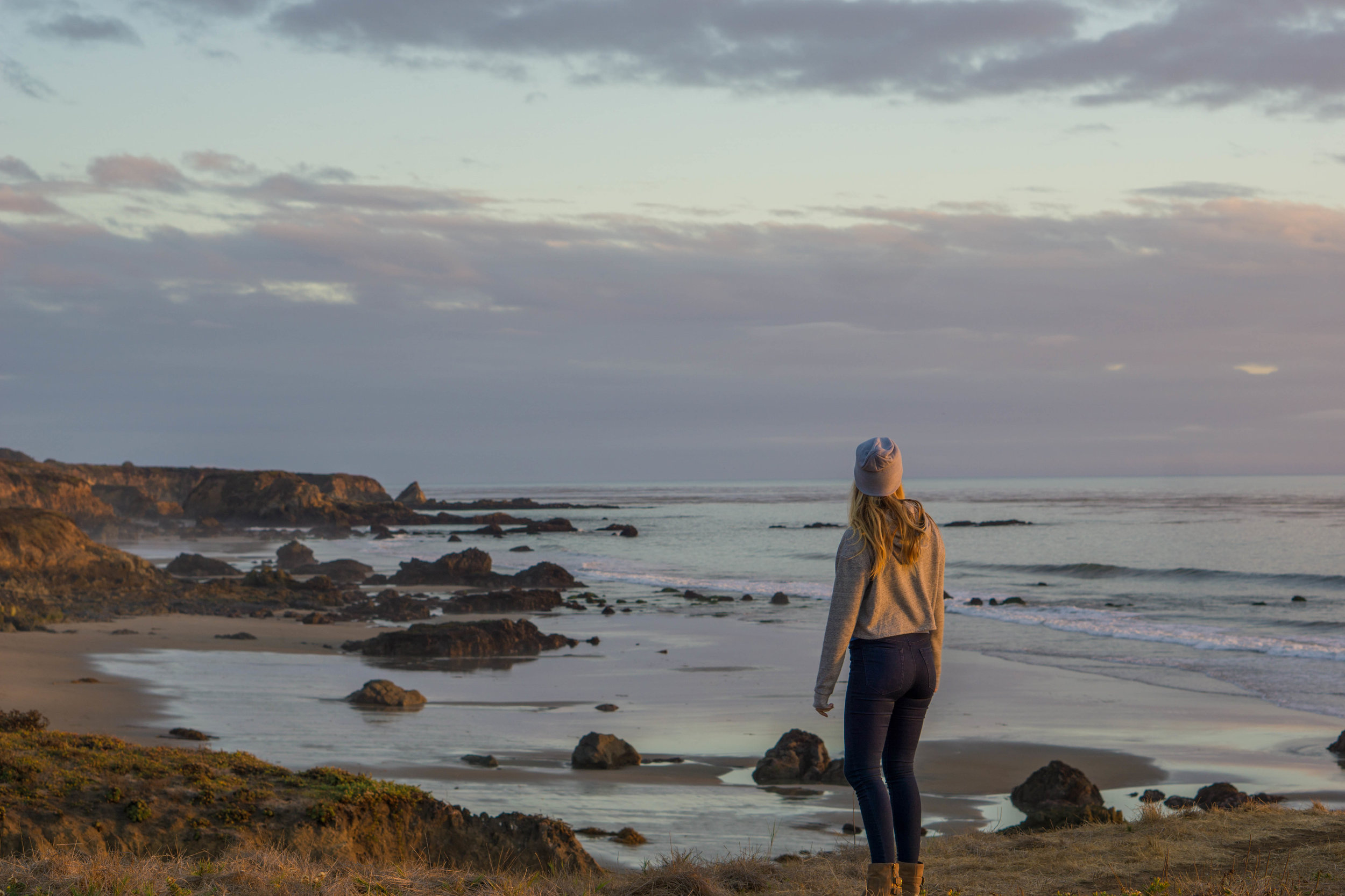 sara san simeon central coast sunset vanlife