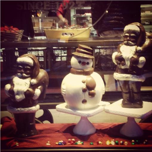 Sweet chocolate Snowmen in Lilac Chocolate's window