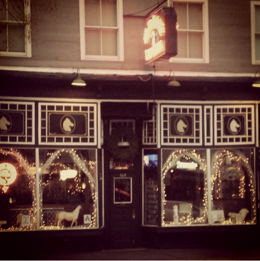 Even the White Horse Tavern looks festive with their branches and lights