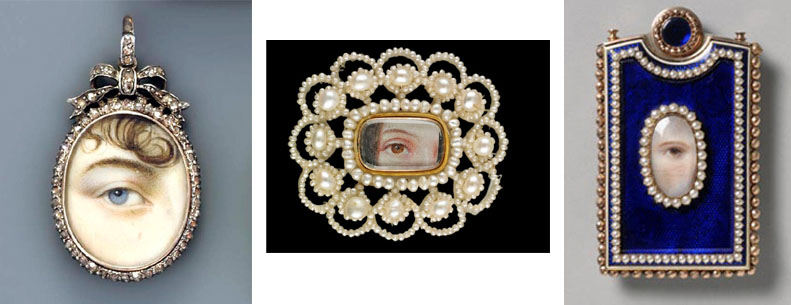 Some examples of Georgian Lover's Eye Brooches