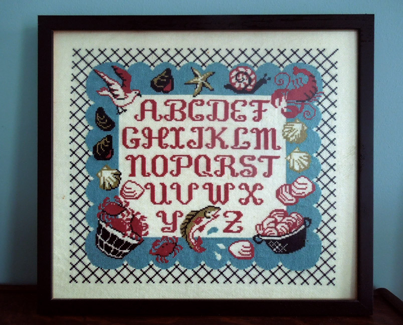 Vintage Seashore Needlepoint inspired by a 1950's tablecloth