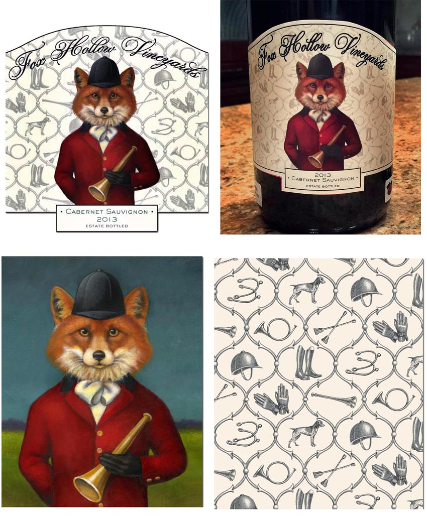 The Finished Label - The original painting - The fox hunt pattern