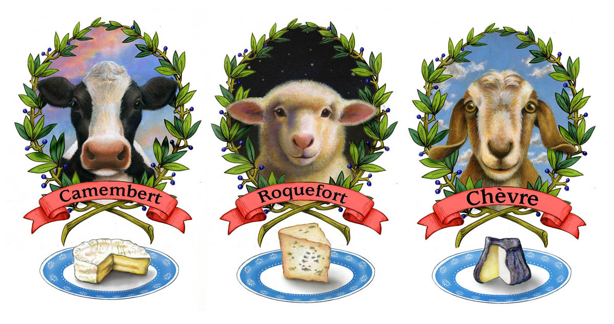 The three finished dairy animals complete with their own special cheeses.
