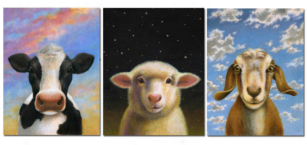 The three original dairy animal portraits without their laurel wreath frames.