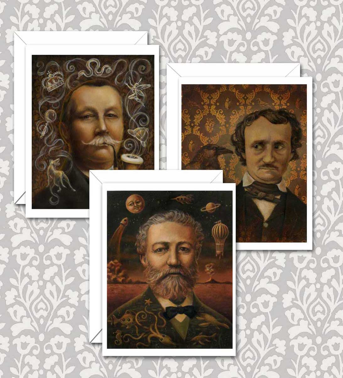 New Victorian Writer Portrait Notecards featuring Arthur Conan Doyle, Edgar Allen Poe and Jules Verne, three of my favorites.