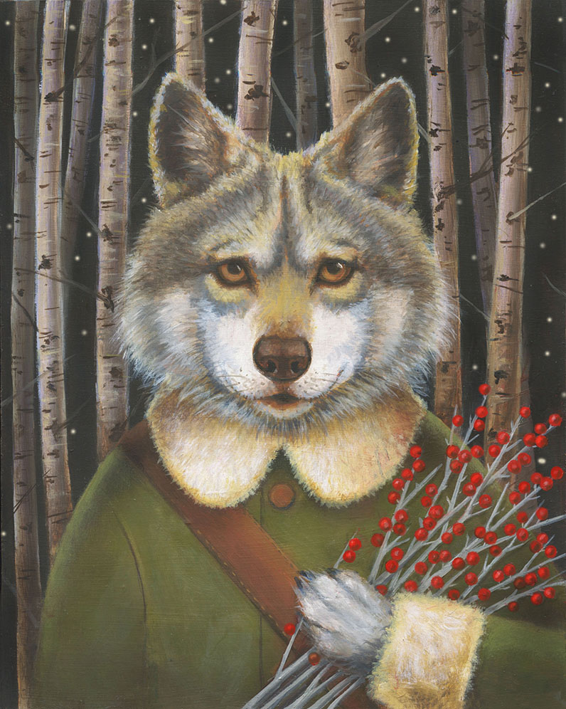 Woodland Wolf Portrait-Lisa Zador