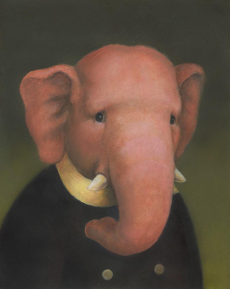 Pink Elephant Portrait-Lisa Zador