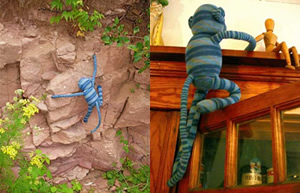 He climbs everything--walls, doors, the chimney at the cabin, and rock walls at the big lake.