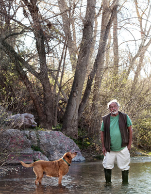 Jim Harrison and his bird dog, Sonoita Creek, 2012