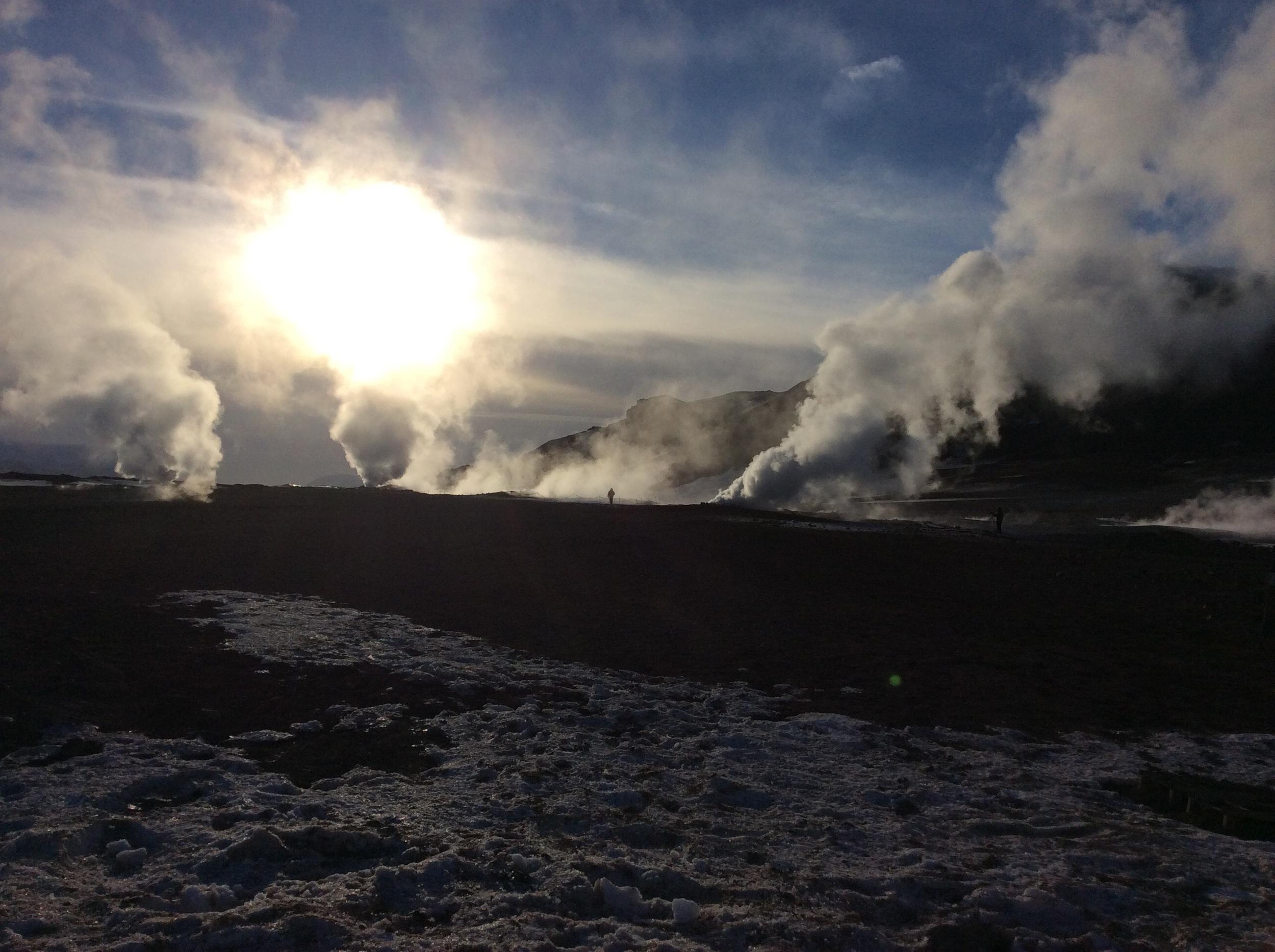 Geothermal field emitting sulfur-laden gases