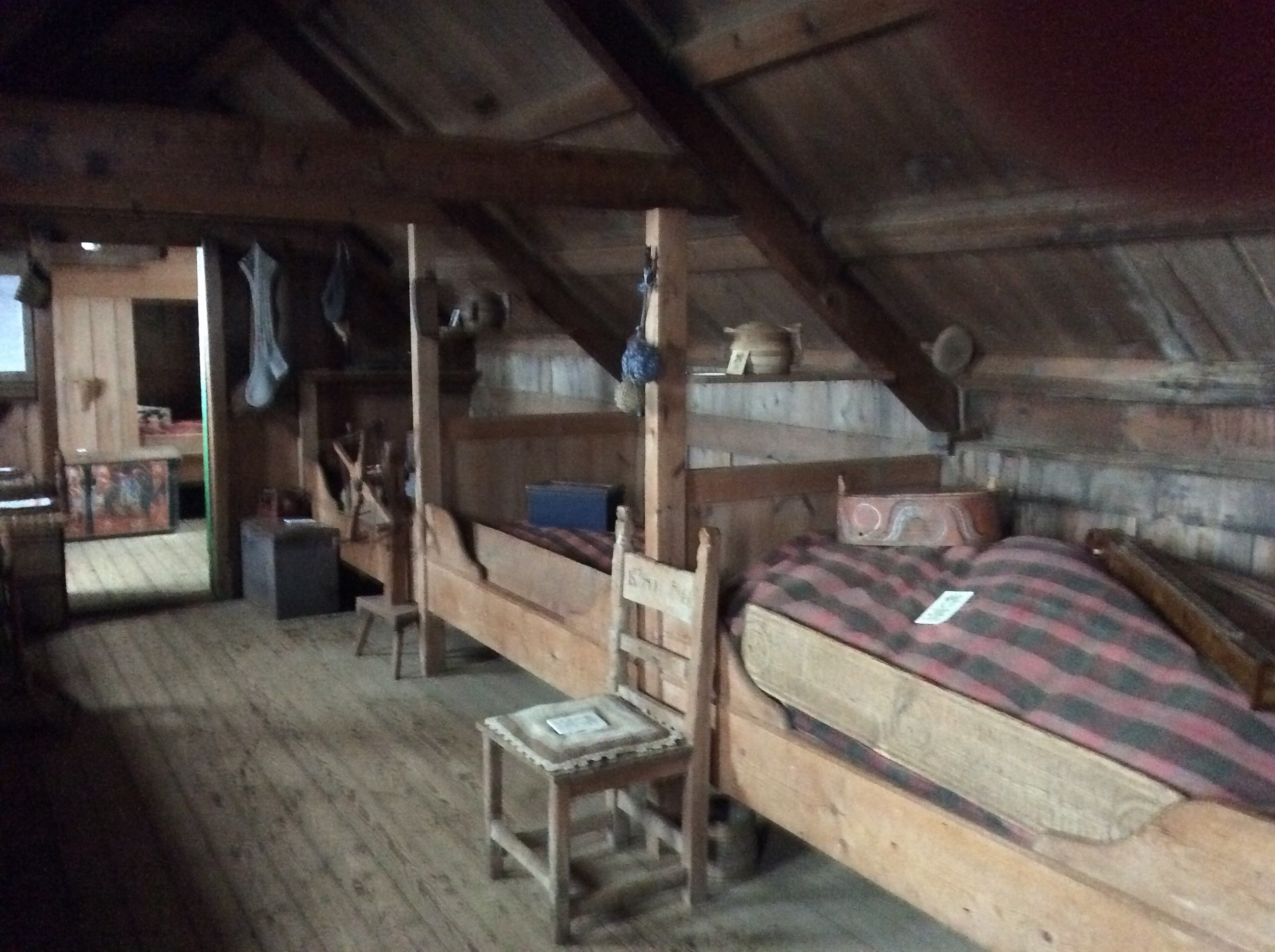 This main room would house/sleep 12 people: 3 beds on each side of the building, and 2 to a bed. The women lived on the side with the windows, because, as tiny as they were, they needed the light for their finer hand work.