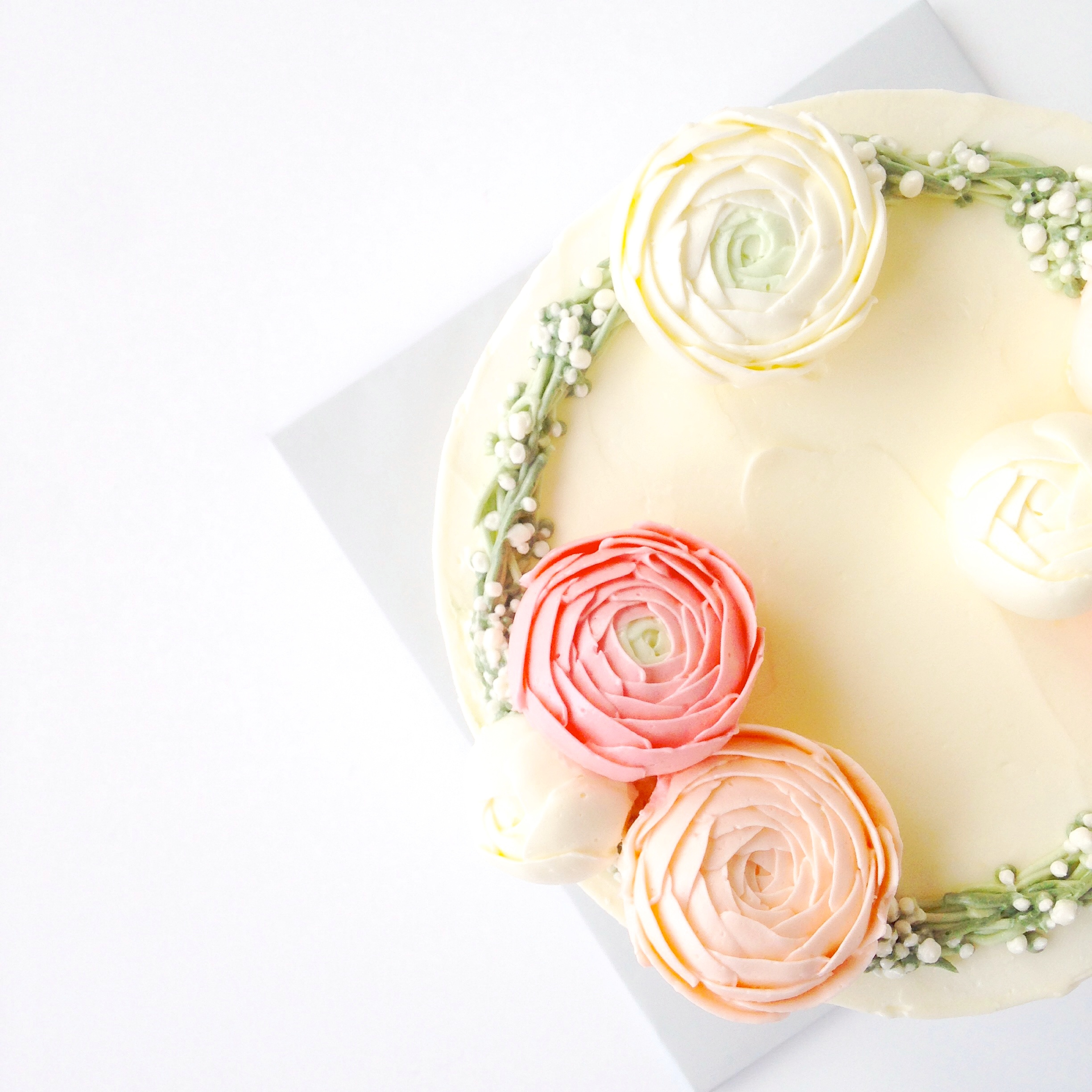 Buttercream ranunculus flower cake