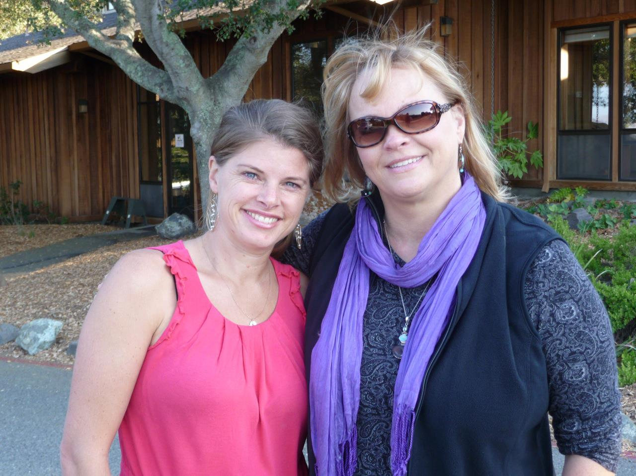 Rhea and Lisa at the Institute of Noetic Sciences in 2012 after completing an interview for the documentary film Love Bomb.