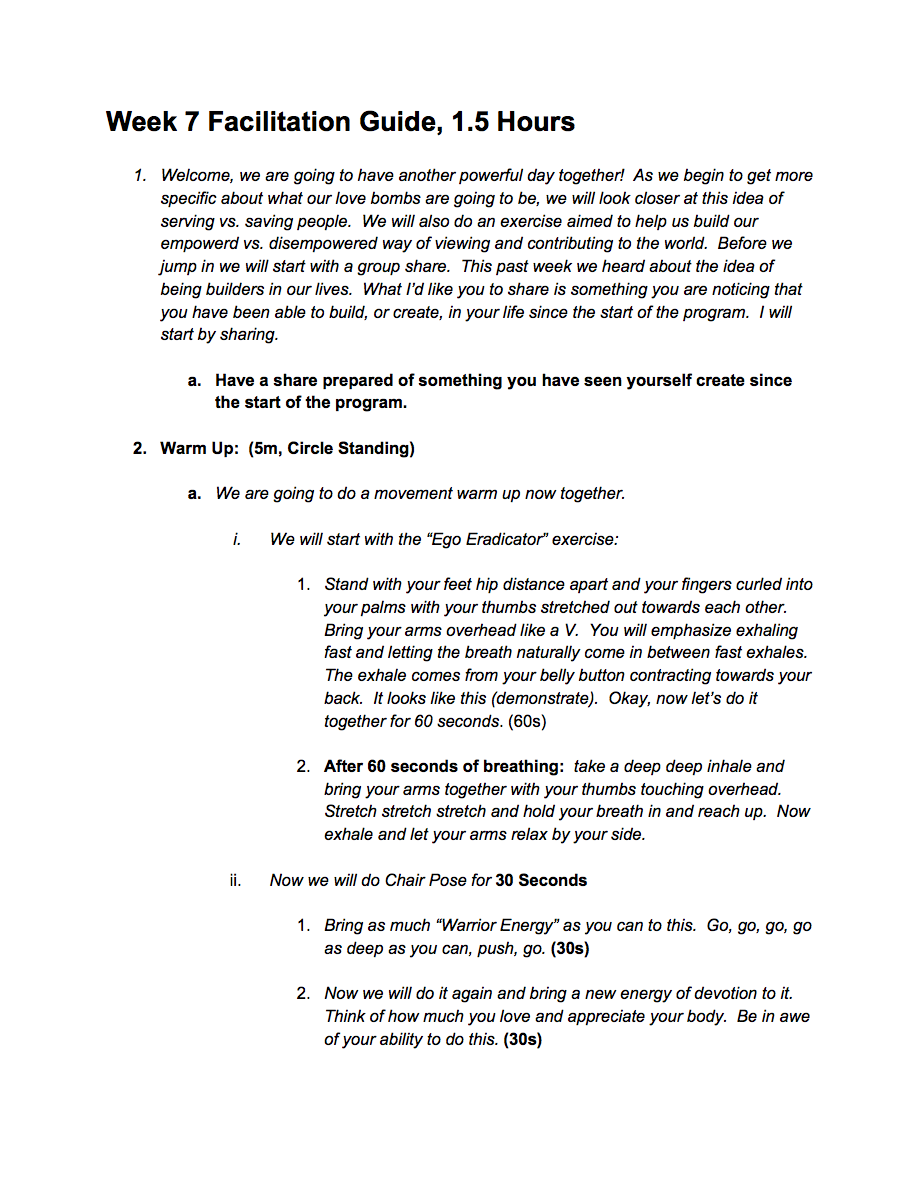 Wee 7 Facilitation Guide