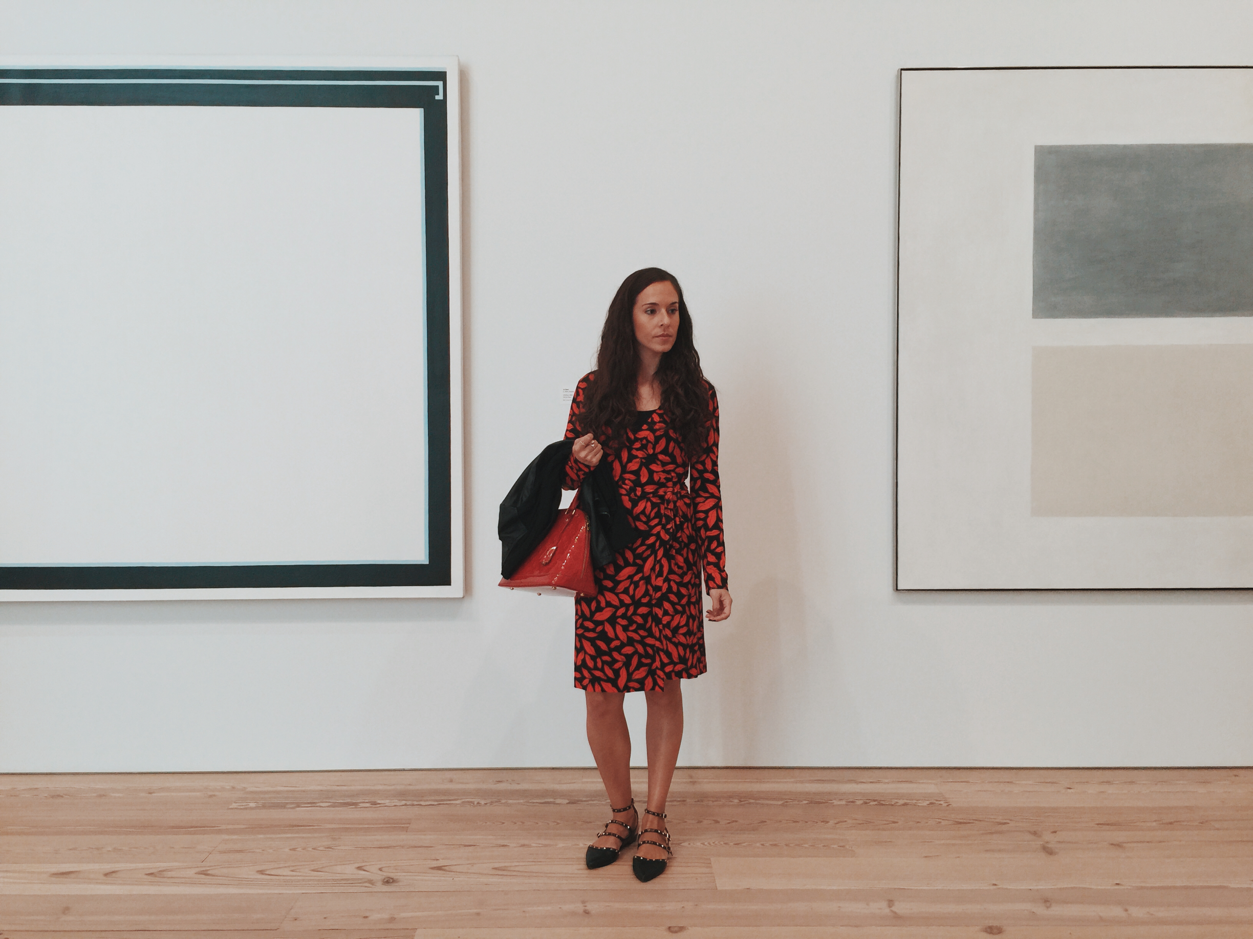 Here I am at NYC's new Whitney Museum in the Meat Packing district, wearing my new  Diane Von Furstenberg  (DVF) wrap dress,  Aldo  studded flats, and  Louis Vuitton  Alma bag. Photography by  Francisco Graciano .