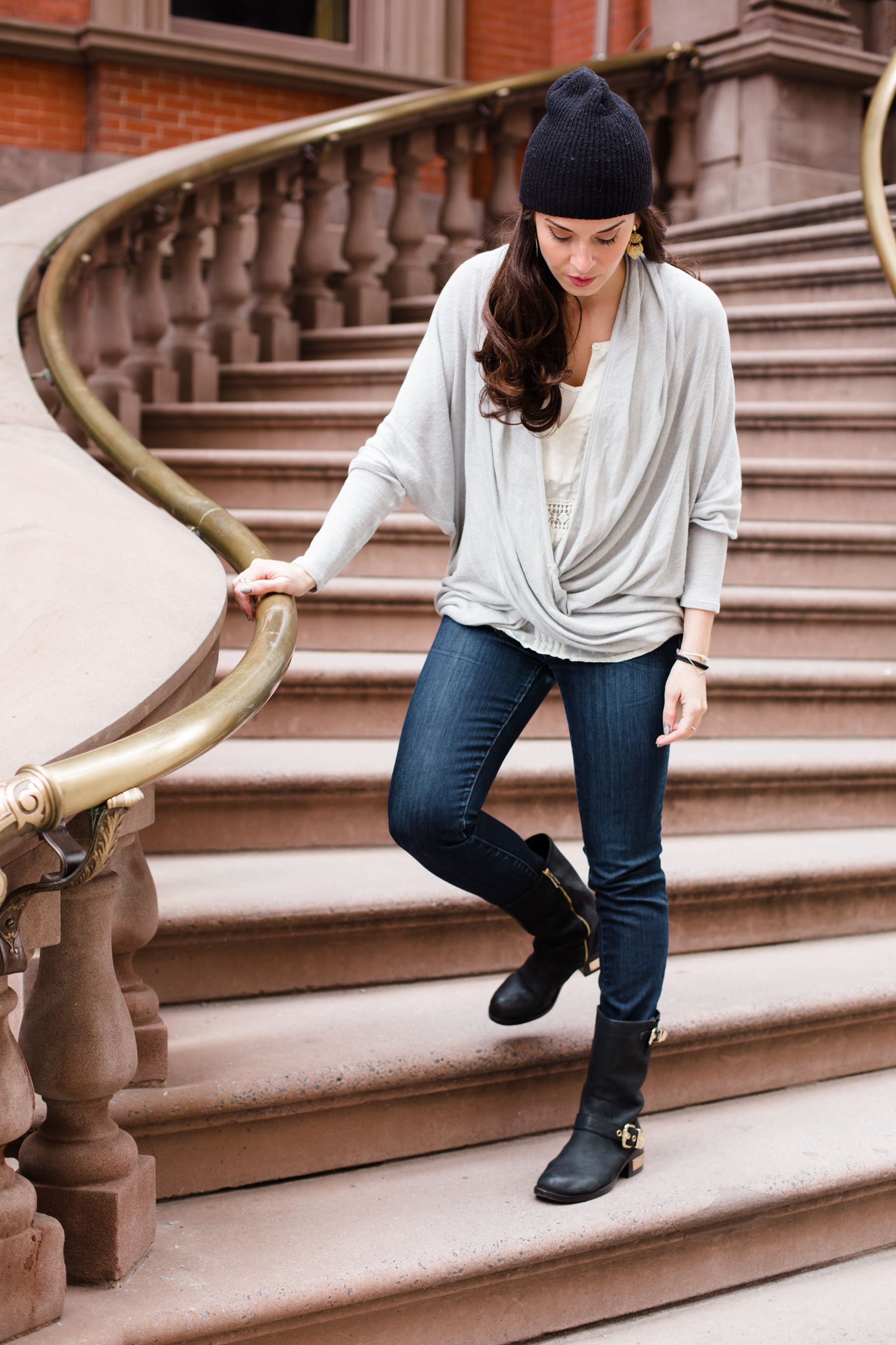"In my  Vince Camuto  Moto boots (now on sale!)  JCrew  matchstick dark denim skinnies, and  Free People  ""We The Free Sheila Hacci"" knit top.  Shot in Philadelphia by  Francisco Graciano ."