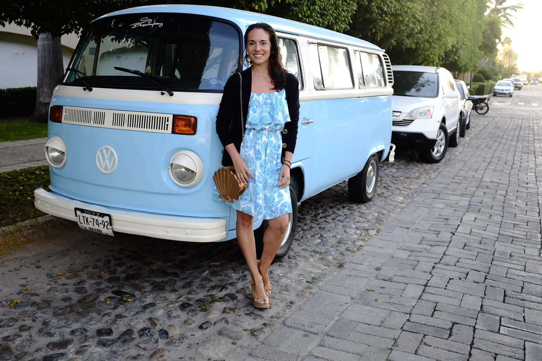"Posing with my favorite VW model next to the Beetle: a traditional microbus (or ""combi"" as it's called in Latin America).  I couldn't help myself, we matched!"