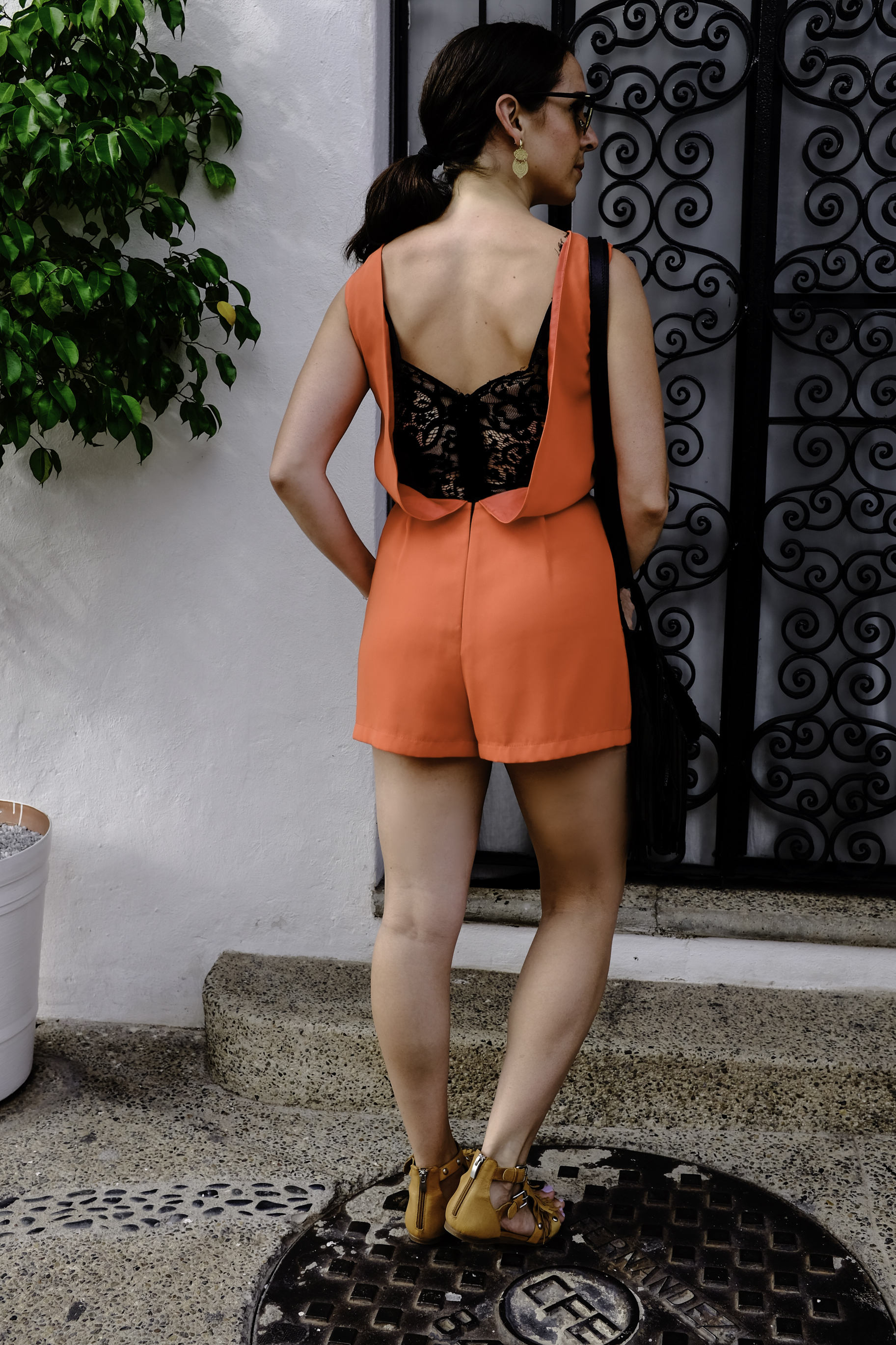 Topshop orange romper in Mexico
