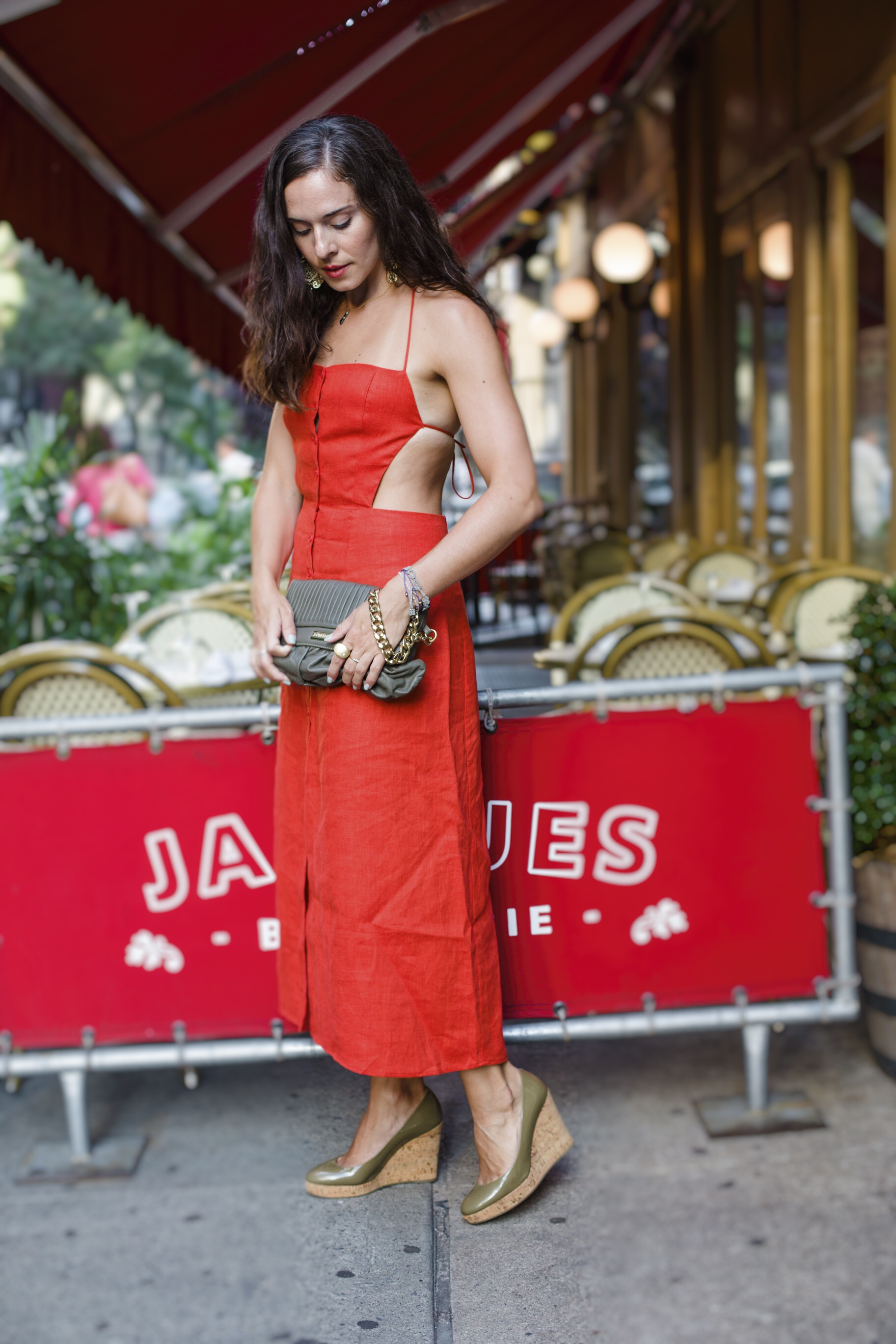In my new  Reformation  Manon dress, in a coral red. With  YSL  army green platforms and  DuMond army green clutch with gold wrist chain. Earrings are from a small boutique in Brazil from my last trip there in May. Photography by  Francisco Graciano .