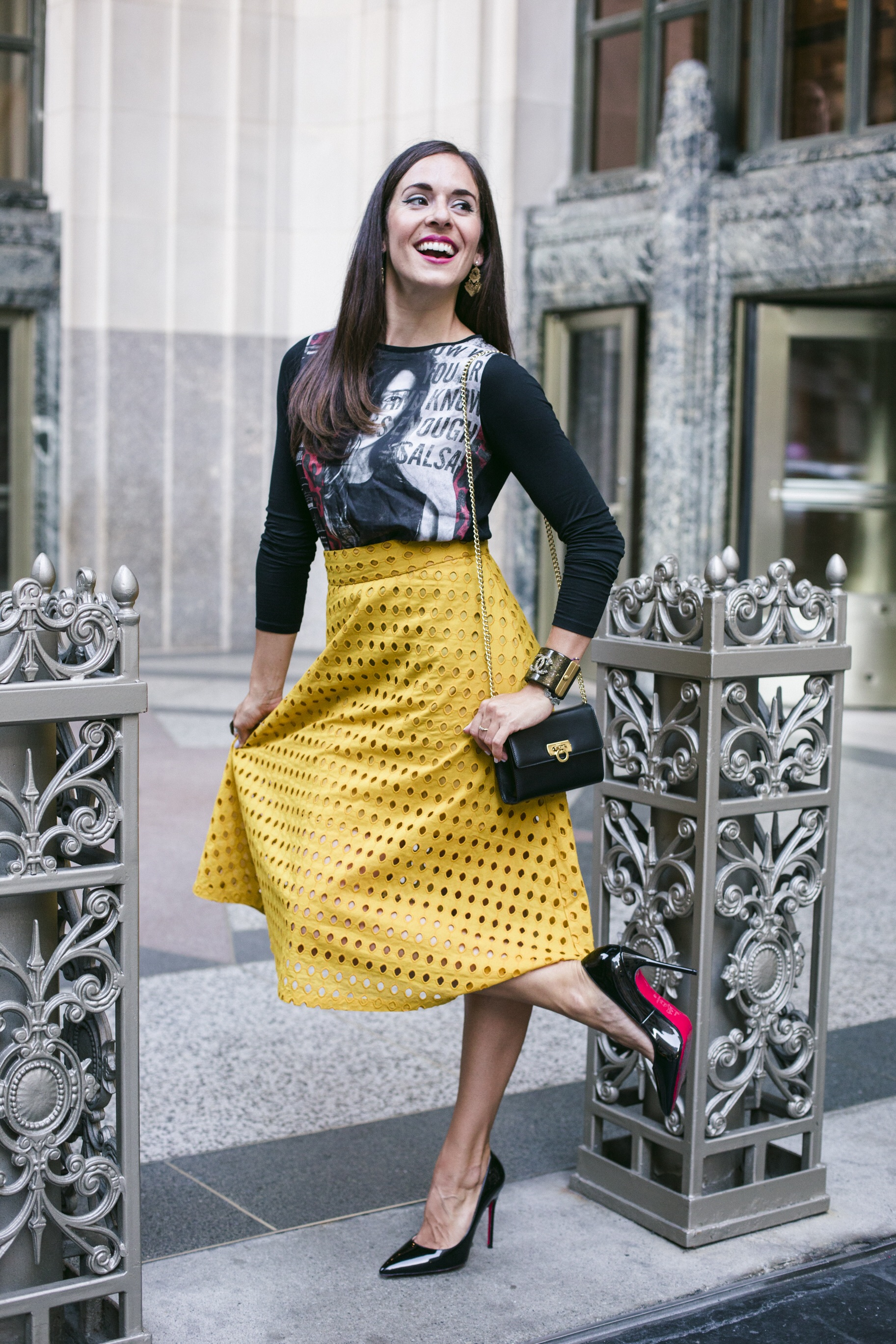 About to hit up the  Desigual  SS17 NYFW runway show wearing a Desi top,  H&M  skirt,  Christian Louboutin  heels,  Chanel  vintage cuff bracelet, and  Salvatore Ferragamo  evening bag. Photography in Gramercy by  Francisco Graciano .