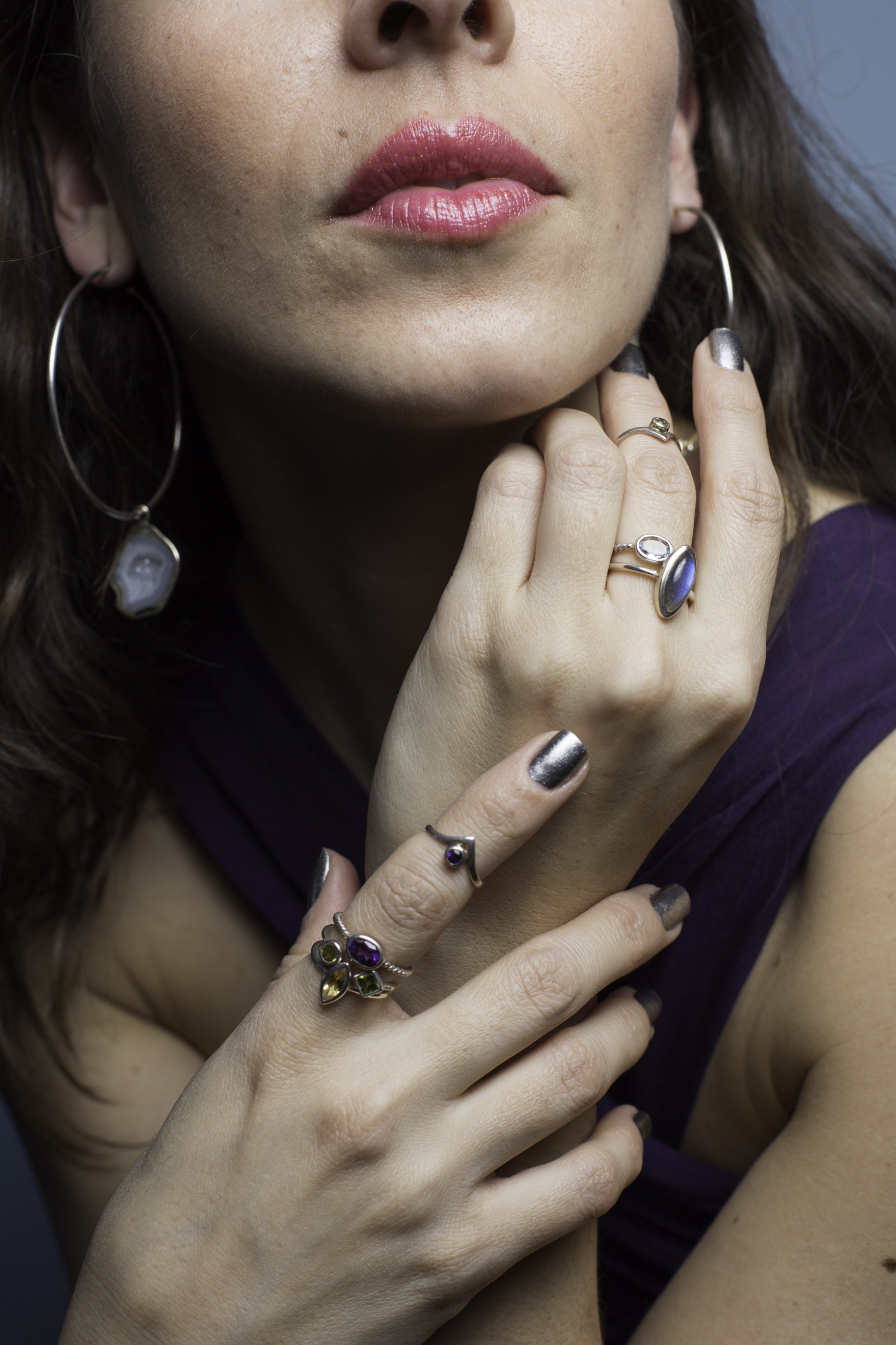 Wearing Made in Earth Collection (on my left hand, from top to bottom): Citrine Mid Ring, Aquamarine Ring, and Labradorite Ring (right hand, from top to bottom): Amethyst Mid Ring, Amethyst Ring, Peridot Open Front Ring, and Citrine Ring. See post for each gemstone's energetic properties.