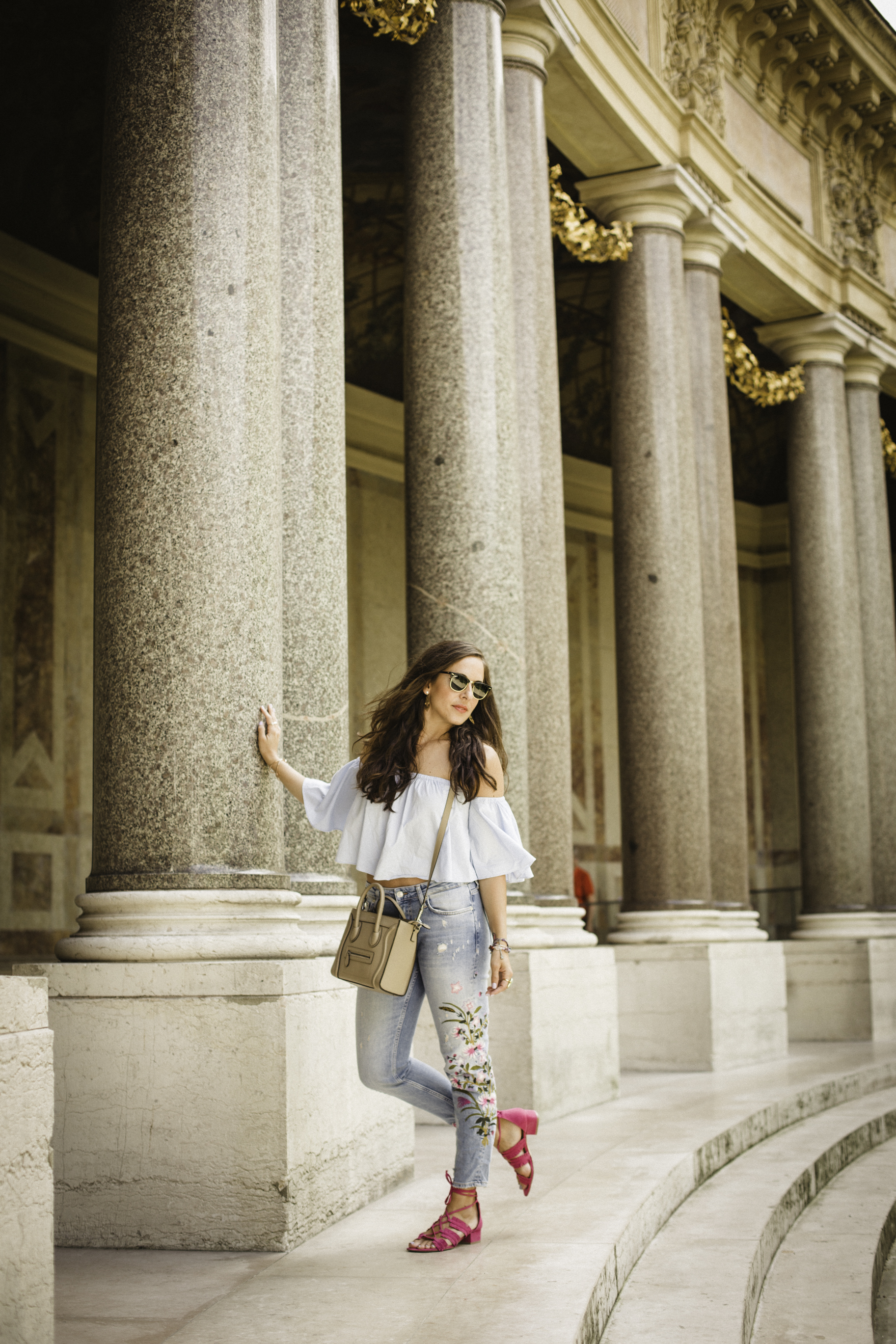 In my Zara top and jeans, Nine West sandals and Celine bag at the Petit Palais in Paris. Photography by  Francisco Graciano .