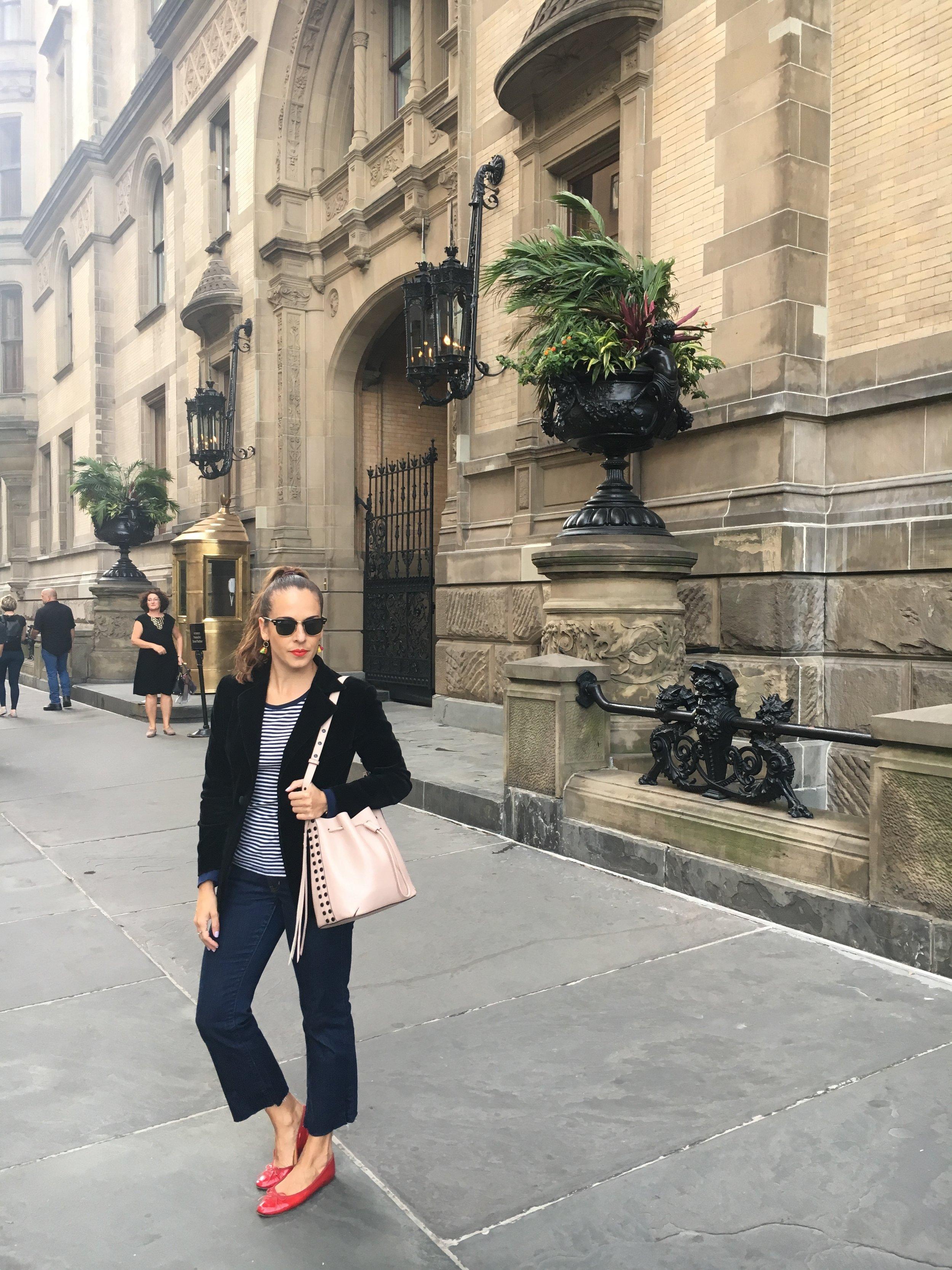 In my vintage black velvet blazer,  Gap  striped top,  Polo Ralph Lauren  jeans,  Chanel  red flats and  Rebecca Minkoff  blush studded drawstring bucket bag.