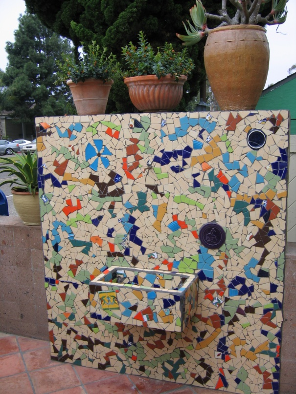 Cava Fountain.  2007 Ceramic tile, broken crockery. Epoxy grout. 20 sq. ft.
