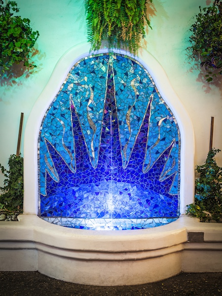 Eos, Rising Dawn Fountain   . 2006  Stained glass, mirror.  Epoxy grout. 25' sq ft.