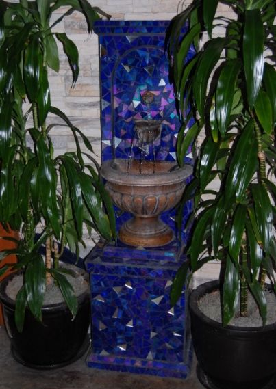 Eos, Small fountain   . 2007 Stained glass, cement grout.