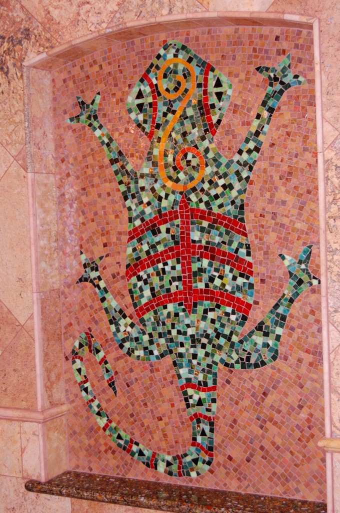 There's a Lizard in my Shower   . 2012  Cement board, Mexican smalti & gold.  Epoxy adobe grout.  4'x2'