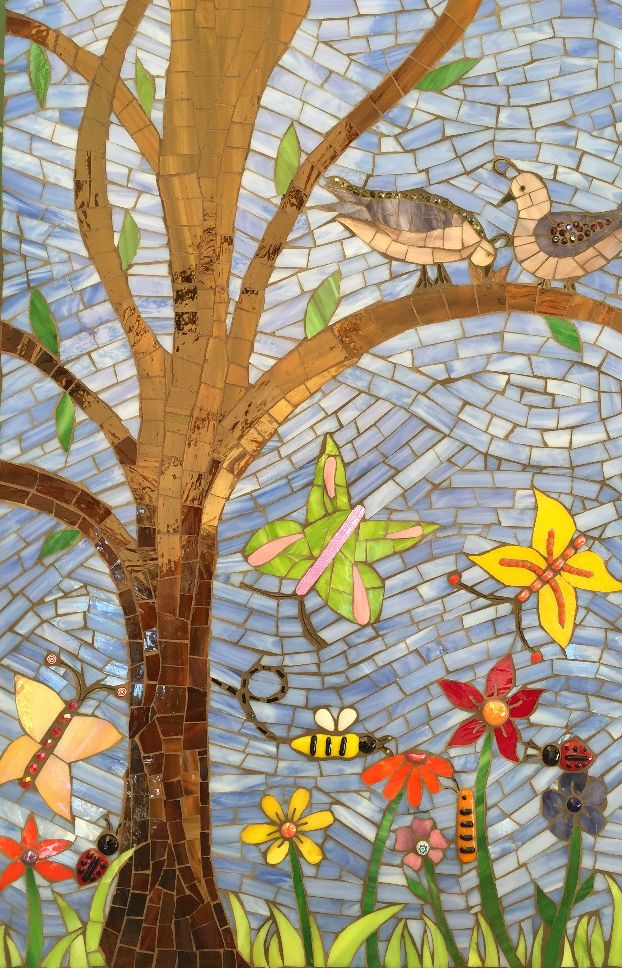 Happy Spring Day 2015 Stained glass, glass fusions and cement grout. On Wedi board.