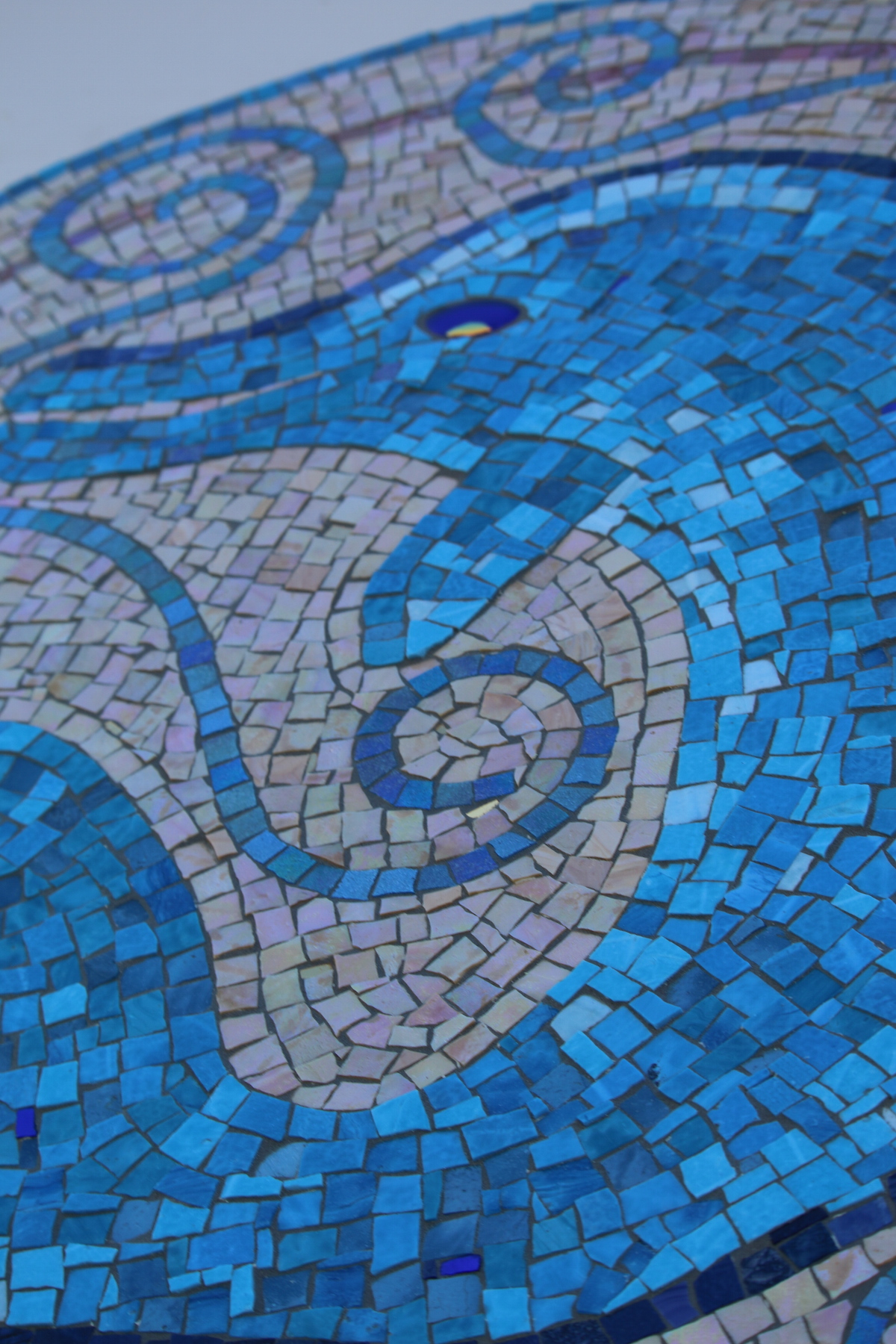 "Dolphin detail, Mexican smalti, gold smalti and glass fusion.  Created on Hardie backer board with epoxy grout. 36"" diameter."