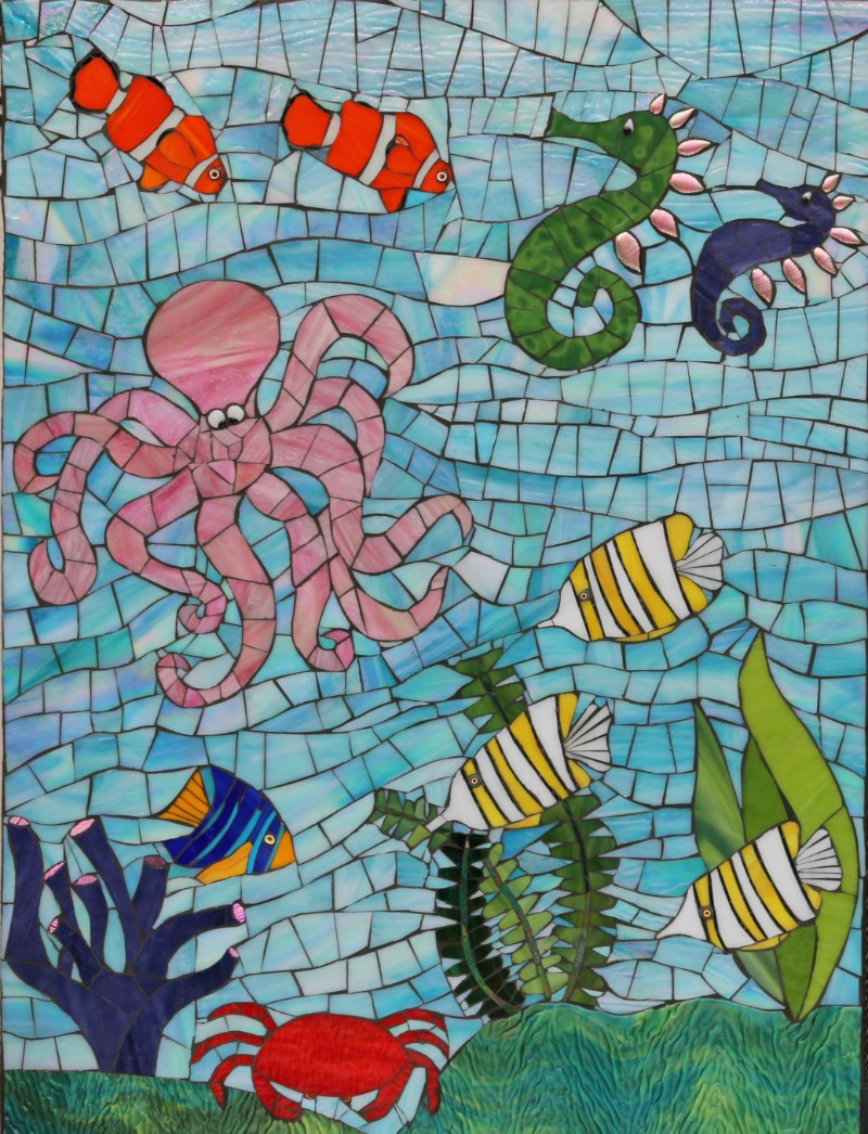 Goleta Medical Center Sea Life  Stained Glass on Wedi Board with Cement grout 2016