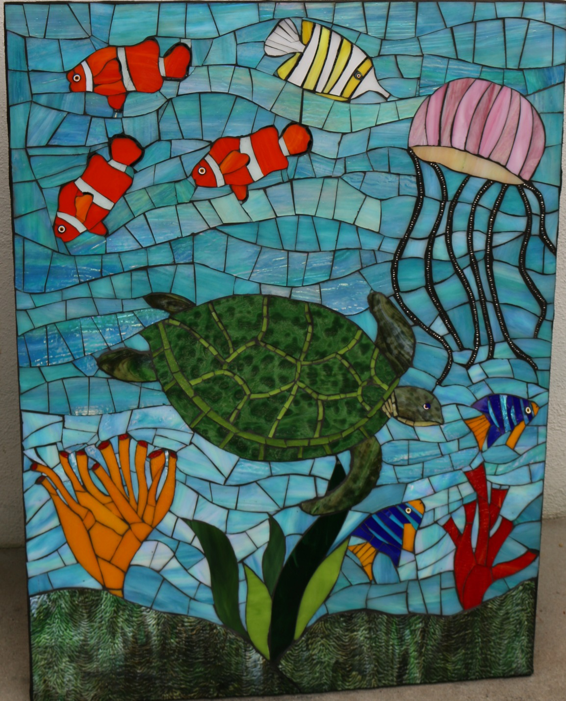Goleta Medical Center Children's Clinic Santa Barbara, CA    Stained Glass with millefiori and cement grout.  2016