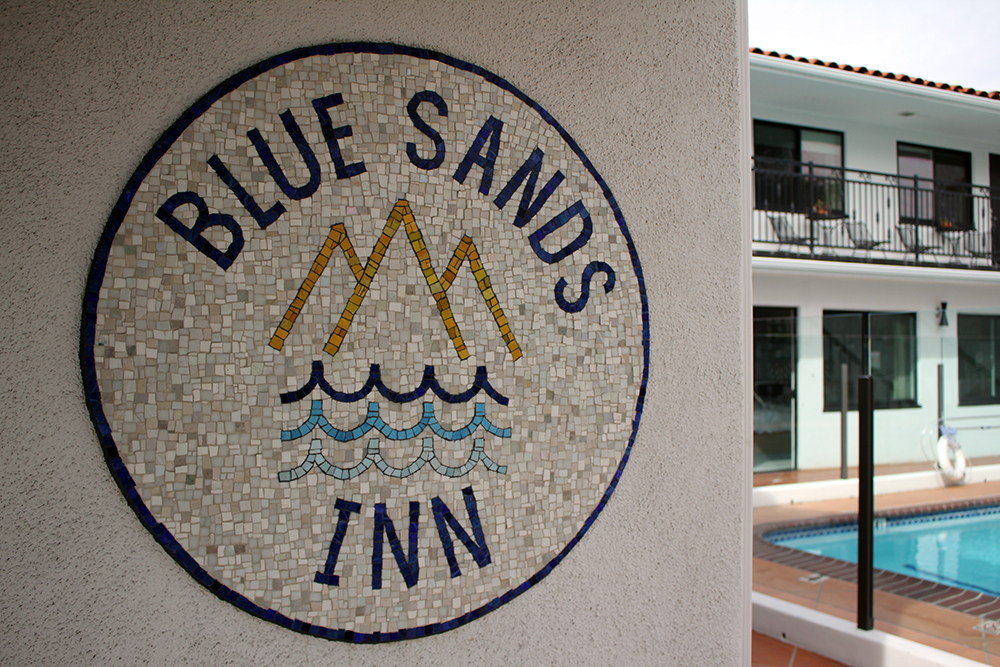 """""""Blue Sands Inn"""" Logo . Mexican smalti, epoxy grout (two colors)."""