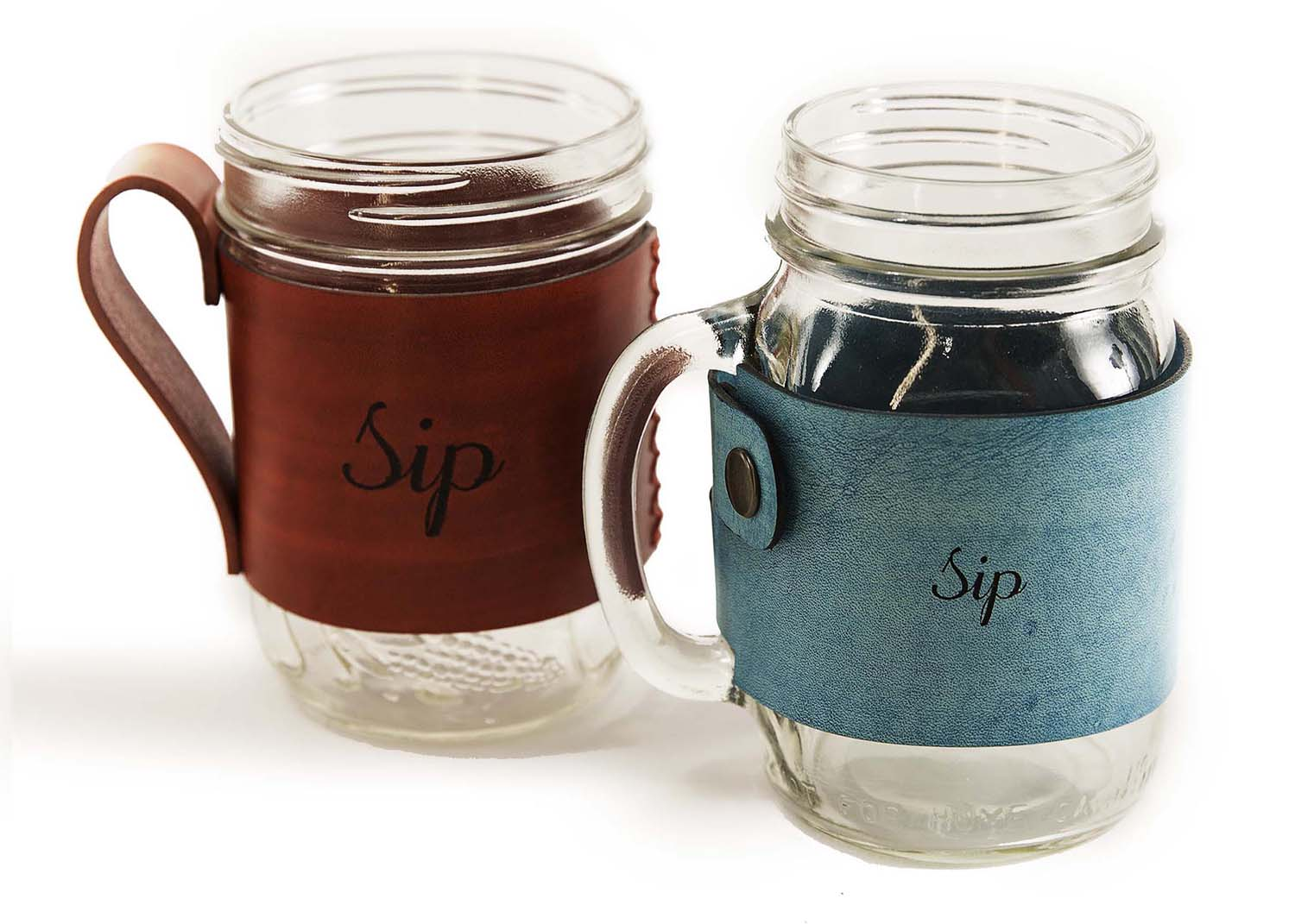 Glass mugs with Leather Cozies