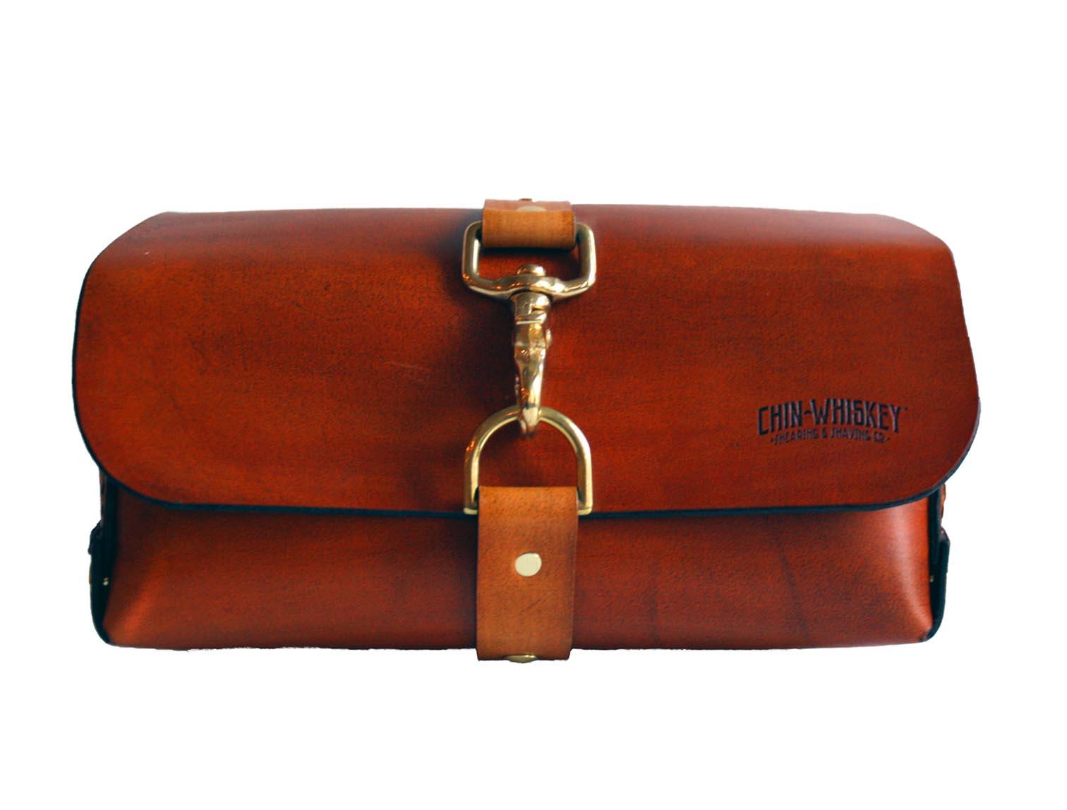 Treated leather dopp bag