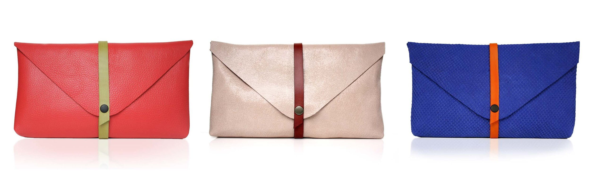 Assorted mix-and-match colour-strap clutch