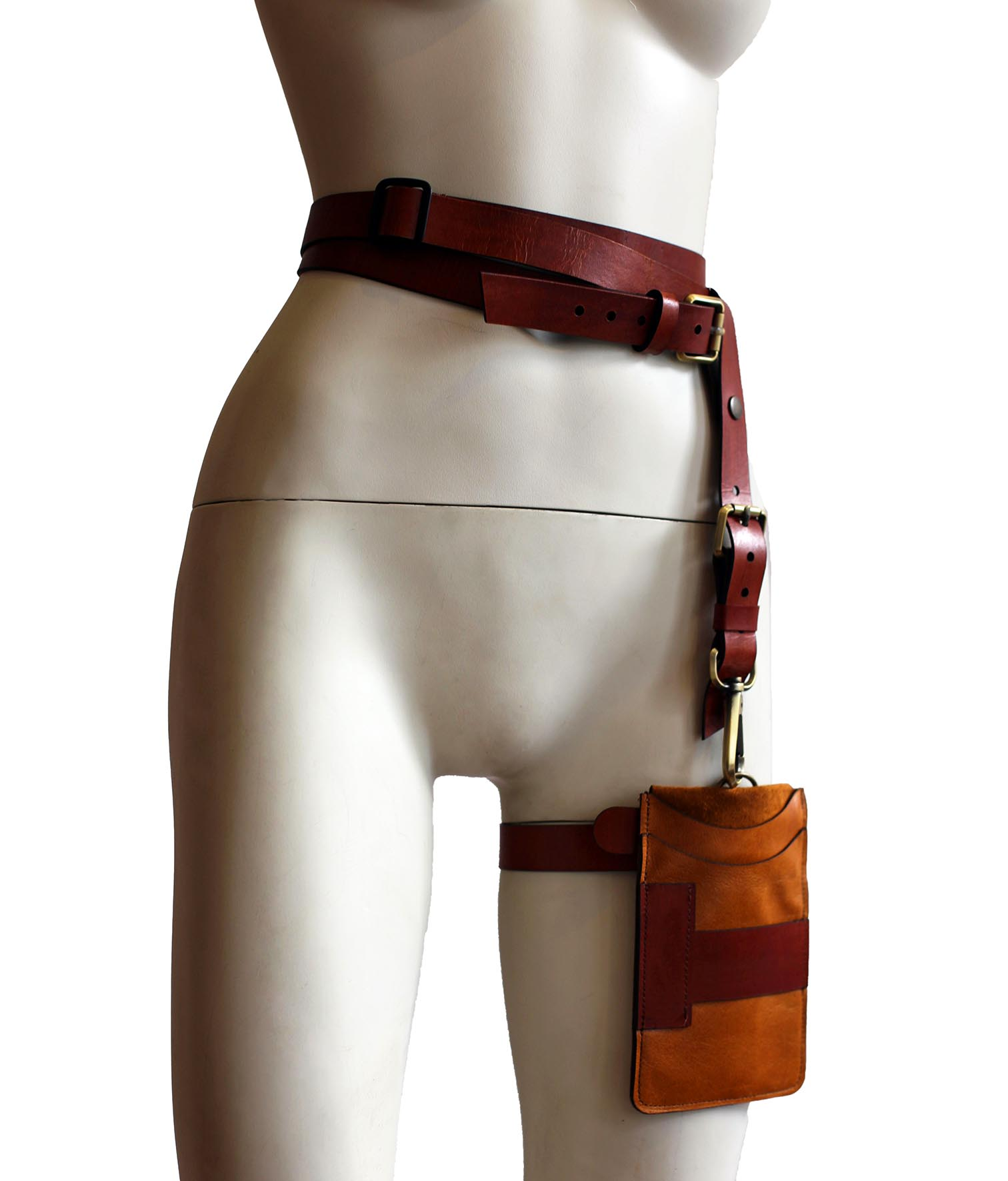 Brown leather and thigh holster